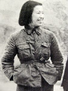 Jiang Qing 江青 , wife of Mao Zedong, in Yanan, probably winter 1940-1941. Conjectural, but was identified as Jiang Qing by a Chinese friend